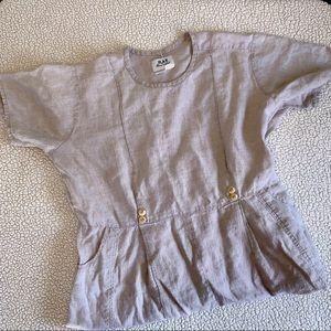 Flax Short Sleeve Linen Maxi Dress